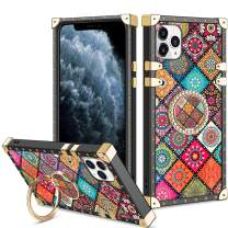 Vofolen Cover for iPhone 11 Pro Max Case Ring Holder Kickstand Exotic Colorful Square Diamond Crystal Anti-Shock Protective Rubber Shell Anti-Slip Finger Loop for iPhone 11 Pro Max 6.5 Mandala Flower