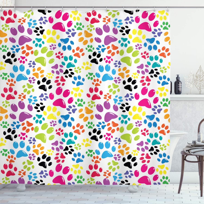 "Ambesonne Dog Shower Curtain, Colorful Little Paws Steps Childish Artwork Cartoon Unusual Traces Design, Cloth Fabric Bathroom Decor Set with Hooks, 70"" Long, Purple Blue"