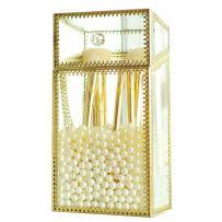 Mirrored Makeup Brush Holder, Clear Glass Cosmetic Storage Box with Lid/Dust Free Eyeliner Lipstick Pencils/Perfume Display Vanity Dresser Decor (Gold-Medium)
