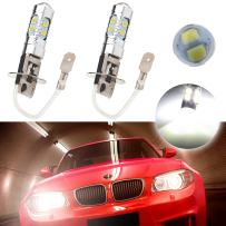 cciyu 2 Pack Xenon White H3 6000k 60W 6000LM 10SMD CREE LED Fog Driving DRL Signal Light Lamps High Power