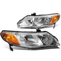 DNA Motoring HL-OH-HC064D-CH-AM Chrome Amber Headlights Replacement For 06-11 Civic Sedan 4-Door