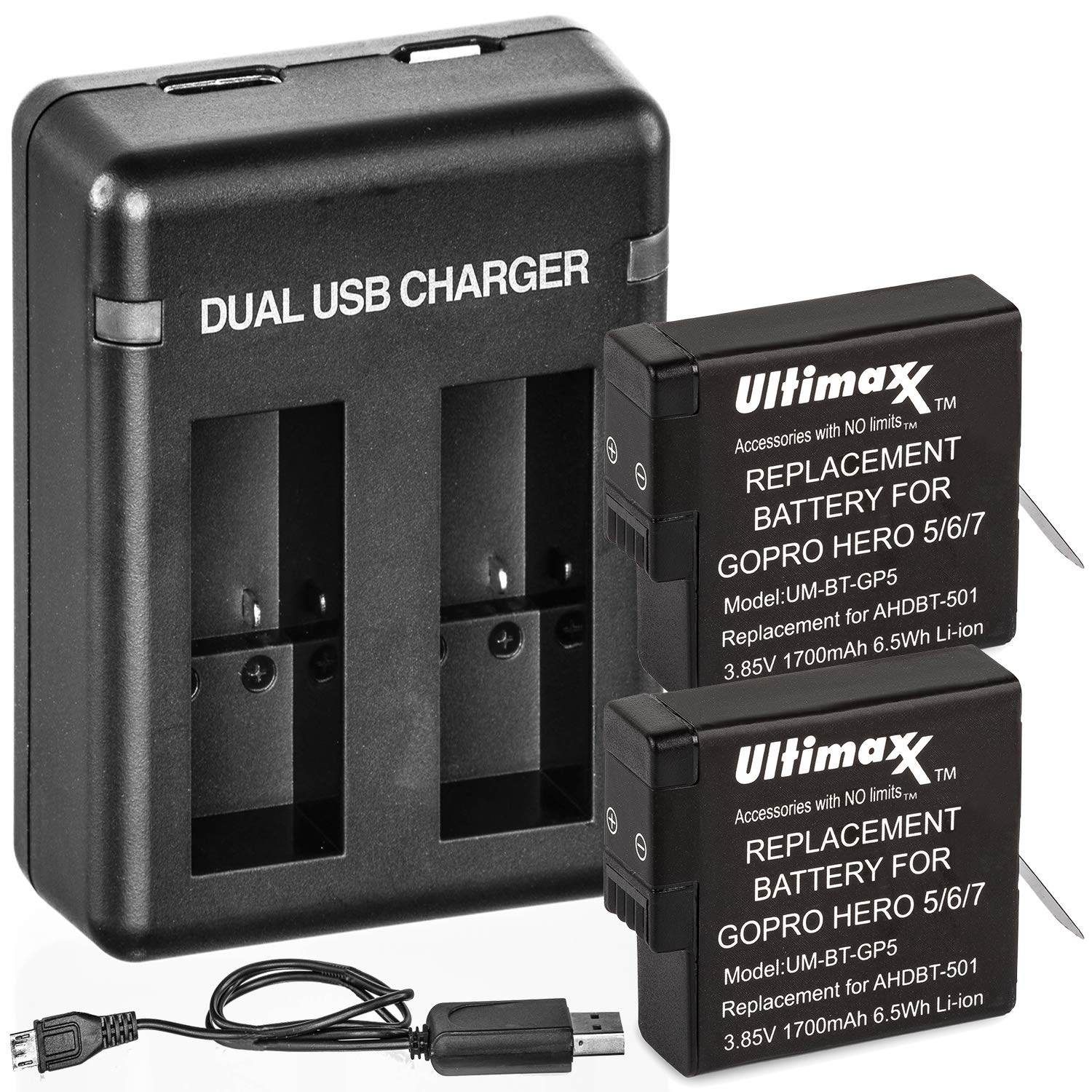 Ultimaxx Dual USB Battery Charger for GoPro Hero 5, 6, 7, 8 Batteries with 2X Extended Life Replacement Battery (1700mAh / 3.85V / 6.5Wh) for Use with GoPro HERO5, HERO6, HERO7 & HERO8