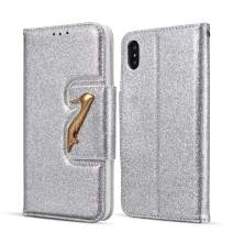 DEFBSC iPhone X iPhone Xs Wallet Case with Kickstand Card Holder,Bling Glitter PU Leather Folio Flip Case for iPhone X/iPhone Xs 5.8 inch,Silver