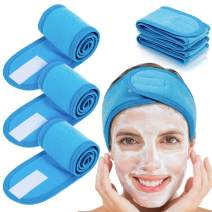 Whaline 4 PCS Spa Headband, Make up Hair Band, Stretch Terry Cloth Headband for Sport Yoga Shower (Blue)
