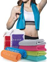 TSLA 1 or 2 Pack Microfiber Cooling Towel, Quick Dry Wrap Chill Ice Towel for Yoga, Golf, Sports, Workout