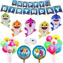 OPATER Baby Shark Birthday Decorations Set Party Supplies Foil Helium Balloons,Happy Birthday Banner,Latex Balloons Shark Family Members Doo Doo Do Gifts for Boys Girls Kids Baby Shower