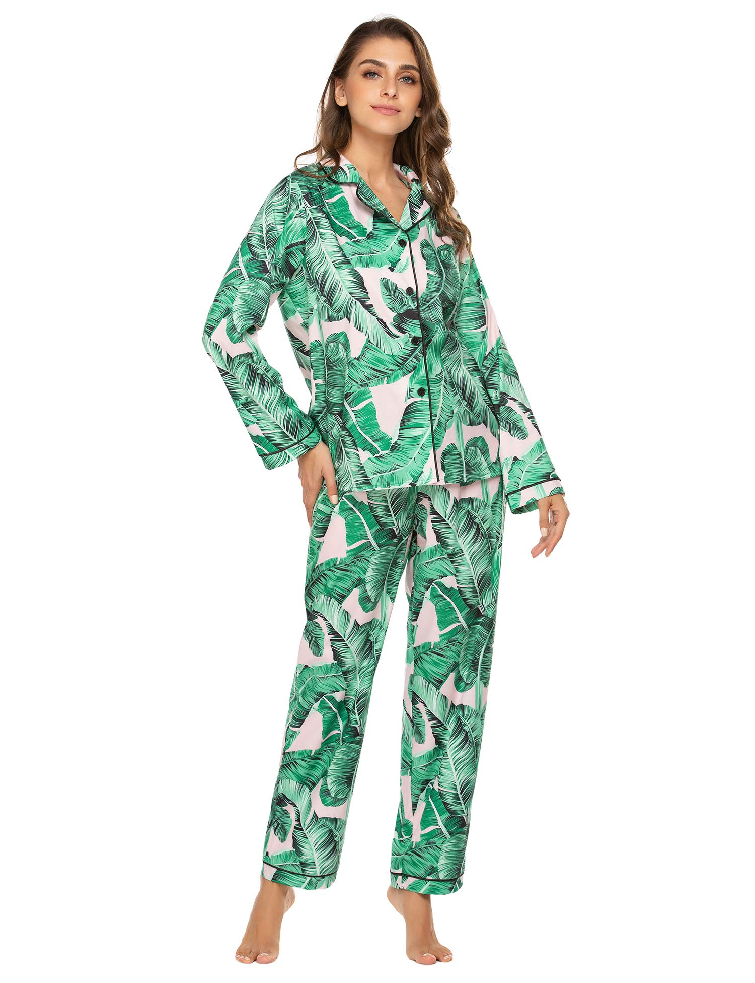 Ekouaer Women's Button Down Pajama Set Long Sleeve Loungewear with with Printed Patterns S-XXL