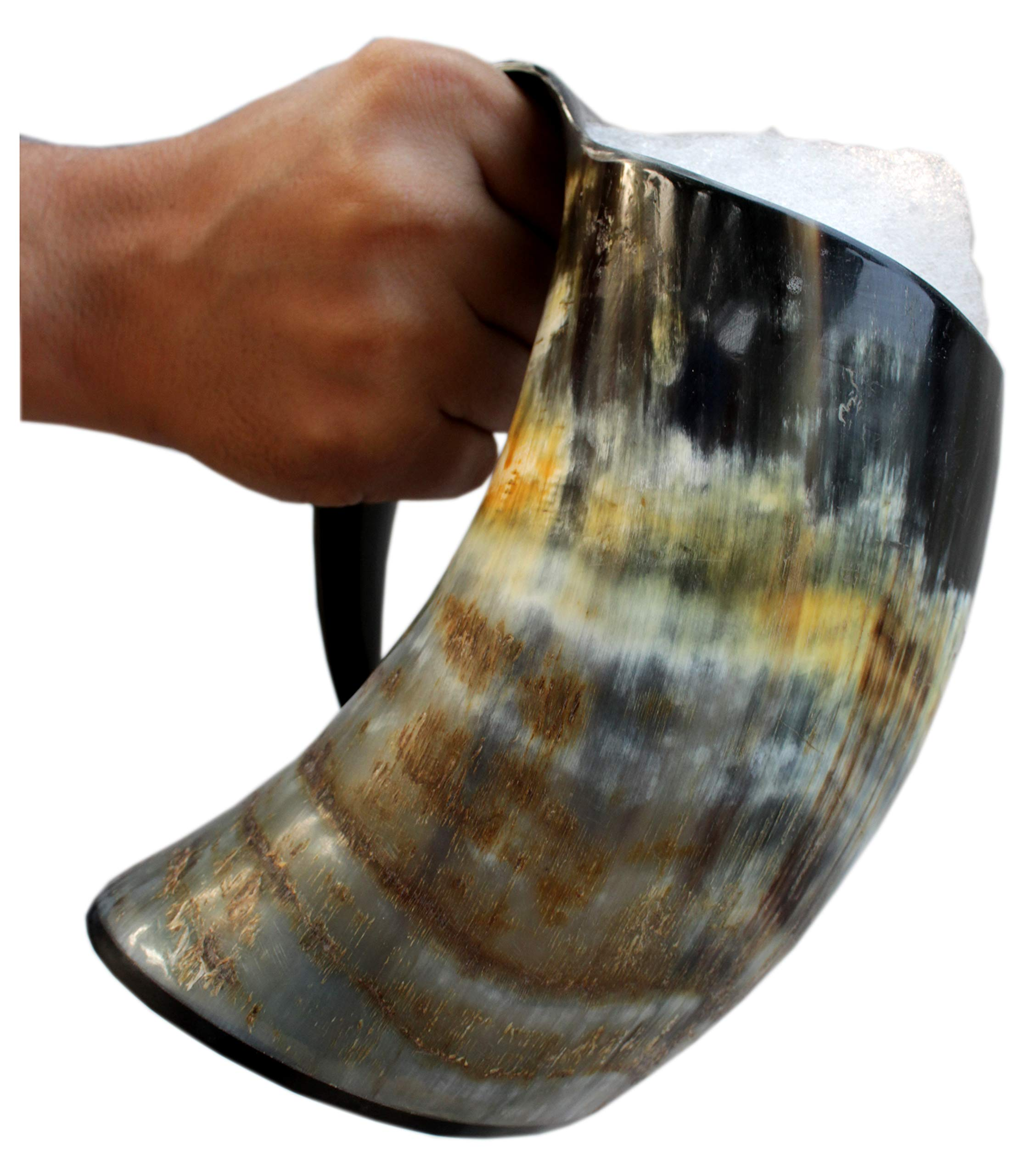 5MoonSun5's Viking Drinking Horn Cup Tankard Handcrafted Ox Cup Goblet - Drink Mead & Beer Like Game of Thrones Heroes with This Large Ale Stein A Perfect Present for Real Men (20oz)