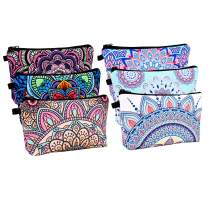 6 Piece Cosmetic Bag for Women, Waterproof Travel Toiletry Pouch Makeup Bag with Mandala Flowers Patterns,6 Mix Style