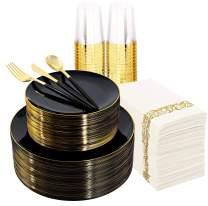 Supernal 350pcs Plastic Dinnerware Set,Black Plastic Plates with Gold Rim,Gold and Black Plastic Silverware,Wedding Party Plates,Plastic Cups with Gold Rim