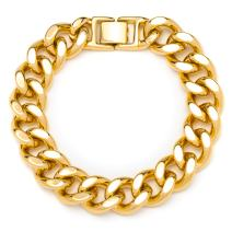 Lifetime Jewelry Men Bracelets [ 15mm (0.6 inches) Cuban Link 24k Gold Plated Men Bracelet - Pulseras para Hombres ] Durable Gold Bracelet with Free Lifetime Replacement Guarantee 8 9 and 10 inches