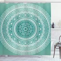 """Ambesonne Teal Ombre Shower Curtain, Mandala Pattern Boho Style Floral Dots and Stripes with Petals Print, Cloth Fabric Bathroom Decor Set with Hooks, 70"""" Long, Teal White"""