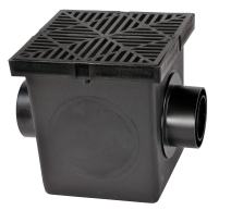 """NDS 1200BKIT Black Plastic Grate, 2 Adapters, 1 Outlet Plug, 12"""" x 12"""""""