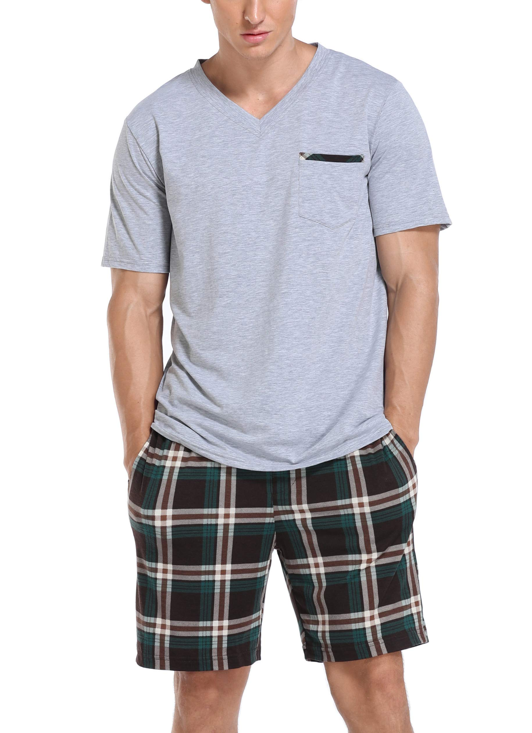 Vlazom Men's Pajama Sets Short Sleeve Top and Plaid Pants for Loungewear Sleepwear