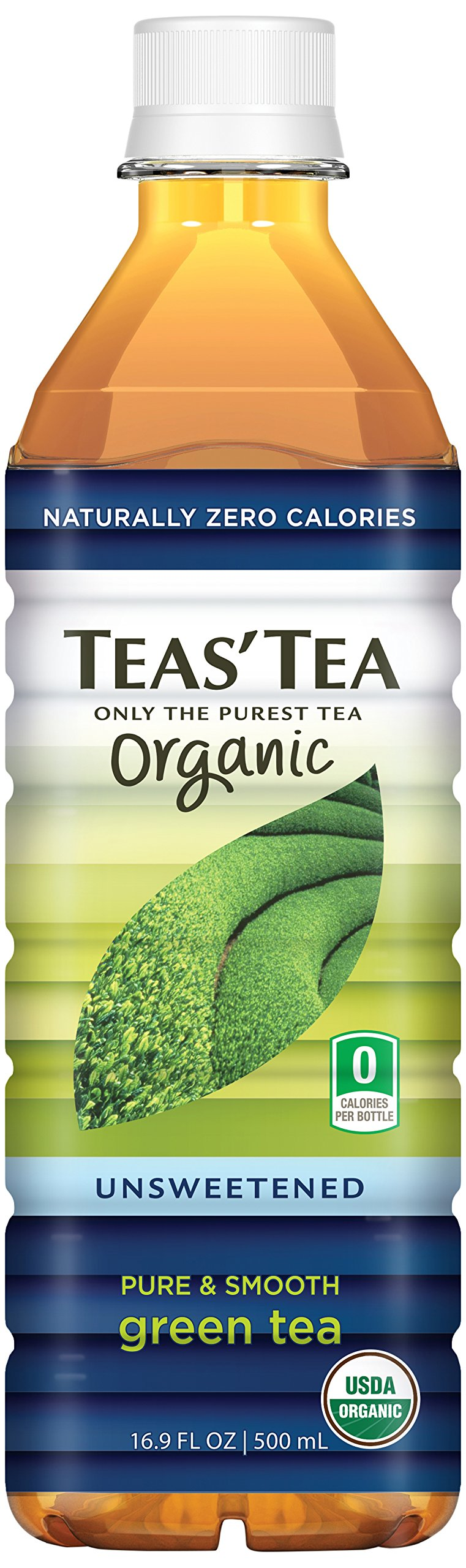 Teas' Tea Unsweetened Pure and Smooth Green Tea, 16.9 Ounce (Pack of 12), Organic, Zero Calories, No Sugars, No Artificial Sweeteners, Antioxidant Rich, High in Vitamin C