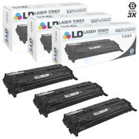 LD Remanufactured Toner Cartridge Replacement for HP 124A Q6000A (Black, 3-Pack)