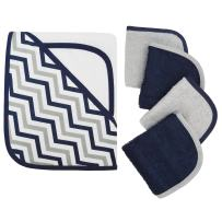 American Baby Company Hooded Terry Cloth Towel and 4 Piece Organic Cotton Washcloth Set, Navy Zigzag, for Boys