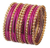 "Touchstone ""Colorful Collection Indian Bollywood Alloy Single Line Clear Rhinestone and Textured Color Bangle Bracelets Set of 18 in Antique Gold Tone for Women."