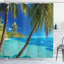 Ambesonne Ocean Shower Curtain, Image of a Tropical Island with The Palm Trees and Clear Sea Beach Theme Print, Fabric Bathroom Decor Set with Hooks, 70 Inches, Turquoise Blue