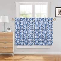"""Haperlare Blue Cafe Curtains 36 Inches Length, Medallion Pattern Rod Pocket Short Tier Curtains for Kitchen Damask Floral Blackout Bathroom Window Curtains, 26"""" x 36"""", Blue/Grey, Set of 2"""
