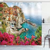 "Ambesonne Italy Shower Curtain, Monarola Antique Village in Cinque Terre Coastal Panorama Summer Beach Scenic View, Cloth Fabric Bathroom Decor Set with Hooks, 70"" Long, Multicolor"