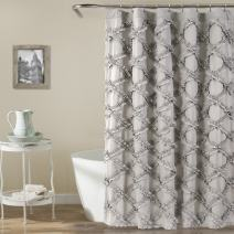 "Lush Decor, Gray Ruffle Diamond Shower Curtain | Textured Shabby Chic Farmhouse Style Design, x 72, 72"" x 72"""