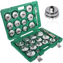 Sunluway 31 PCS 3/8 inch Drive Oil Filter Socket Cup Type Cap & Adjustable Oil Filter Wrench Removal Tools Set
