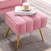 Altrobene Velvet Ottoman, Modern Tufted Footrest, Trapezoid Foot Stool, Gold Tone Metal Legs, Pink