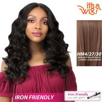 it's a Wig! - Anywhere Lace Part with Natural Finger Wave In Heat Resistant Synthetic Wig - LAILA (HM4/27/30 - HIGHLIGHT MIX MEDIUM DARK BROWN + STRAWBERRY BLONDE + LIGHT AUBURN)
