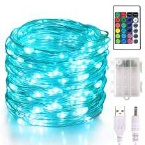 Aluan Fairy Lights 100 LED 33 FT Christmas Lights USB & Battery Operated String Lights, 16 Colors Changing Silver Wire Multi Color Fairy Lights with Remote Control for Party Halloween Christmas