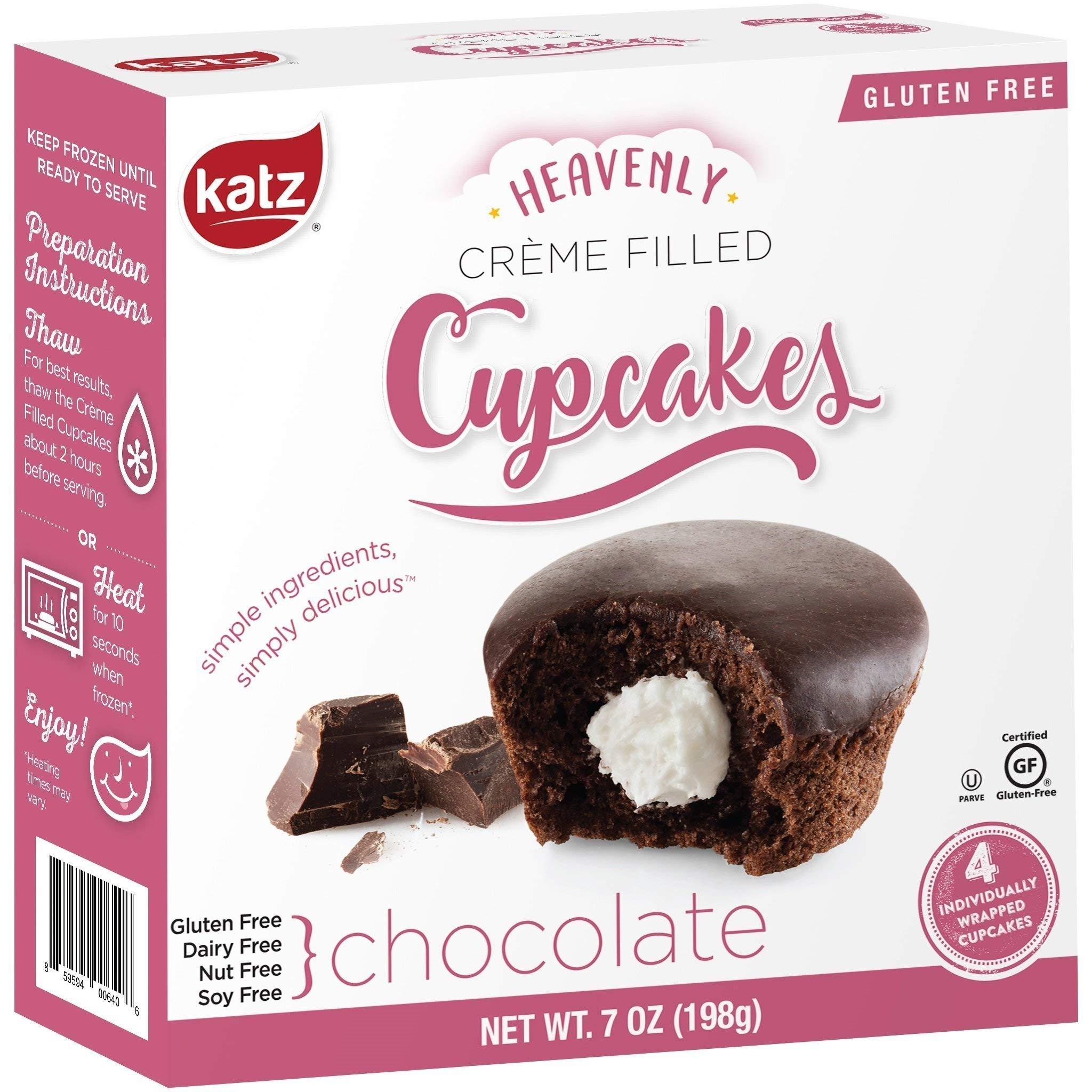 Katz Gluten Free Chocolate Crème Filled Cupcakes | Dairy Free, Nut Free, Soy Free, Gluten Free | Kosher (6 Packs of 4 Crème Cupcakes, 7 Ounce Each)
