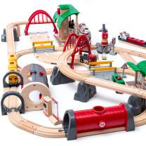 BRIO World 33052 Deluxe Railway Set | Wooden Toy Train Set for Kids Age 3 and Up, Green