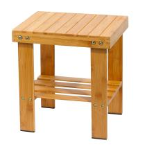 Famistar Bamboo Step Stool for Kids Children Adult,Anti-Slip Lightweight Chairs Seat with Storage Shelf/Foot Pads,Multfunctional for Bathroom,Living Room,Bedroom,Laundry Room or Garden(Medium)