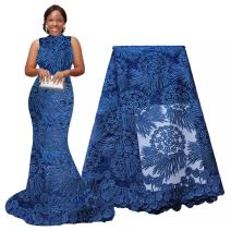 pqdaysun African Lace Fabric 5 Yards 2018 Nigerian Lace Swiss French Lace Fabric F50614 (5 Yards, Blue)