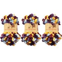 BambooMN Finger Knitting Yarn - Fun Finger Loops Yarn - 100% Polyester - Iris - 3 Skeins