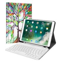 """Fintie Keyboard Case for iPad Air 3rd Gen 10.5"""" 2019 / iPad Pro 10.5"""" 2017 - SlimShell Stand Protective Cover w/Magnetically Detachable Wireless Bluetooth Keyboard and Pencil Holder, Love Tree"""