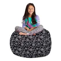 """Posh Stuffable Kids Stuffed Animal Storage Bean Bag Chair Cover - Childrens Toy Organizer, Large 38"""" - Canvas Nautical Anchors on Black"""