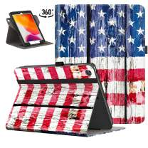 VORI Case for iPad 10.2 2019, [360 Degree Rotating] Leather Folio Stand Case Smart Protective Cover with Auto Wake/Sleep for New iPad 7th Generation 10.2 inch, American Flag