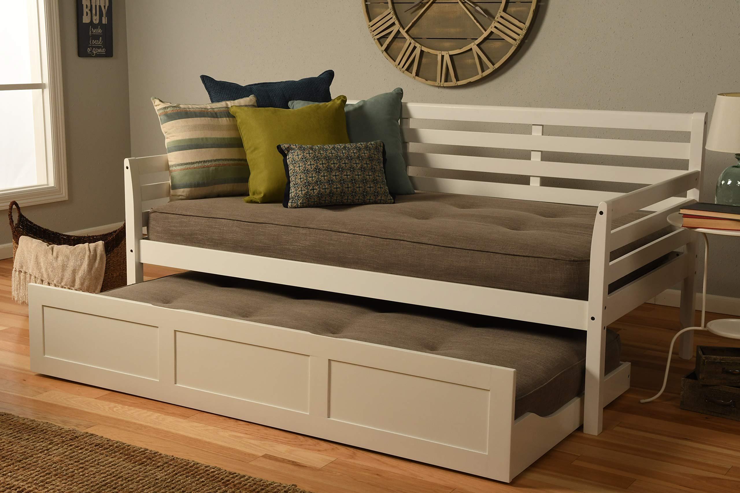 Kodiak Furniture Boho Daybed with Trundle, Twin, White Finish