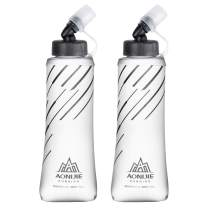 TRIWONDER TPU Soft Flasks Collapsible Water Bottles Running Flasks for Hydration Pack Backpack Hiking Cycling (420ml/14.2oz - Pack of 2)
