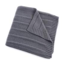 EverGrace Cozy Solid Knit Throw Blanket for Couch Chairs Bed Beach, Super Soft Cable Throw Blanket 50x 60 Charcoal