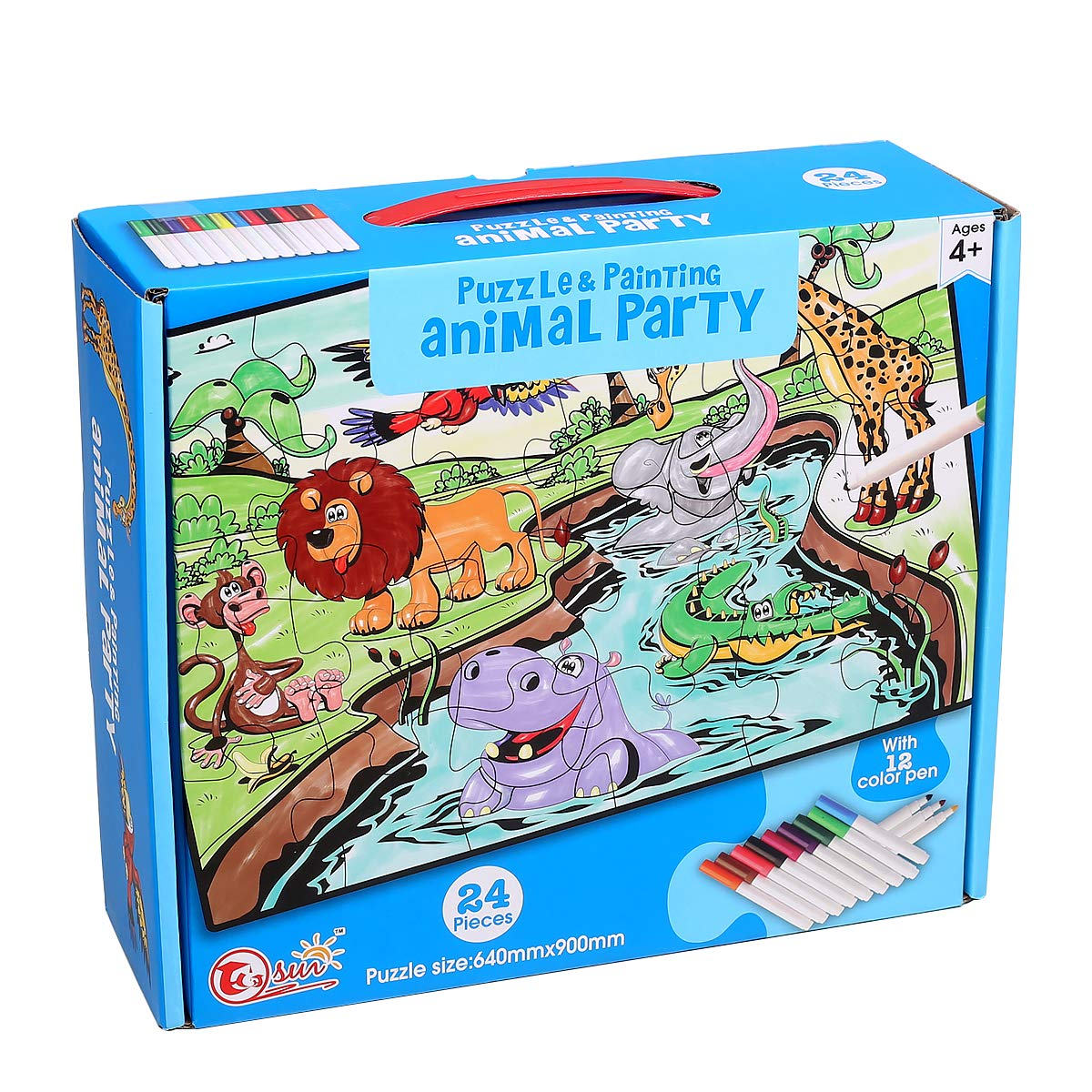 Ingooood - Jigsaw Puzzles for Kids Come with 12 Coloring Markers - Great Girl Gift, Fun Creative Toys & Art Set - Child Game Decompression Leisure Entertainment Childrens Gifts (Animal Party)