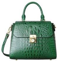 PIFUREN Crocodile Bags Designer Leather Satchel Handbags Top Handle Shoulder Purse