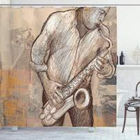 """Ambesonne Music Shower Curtain, Jazz Musician Playing The Saxophone Solo in The Street on Grunge Background Art Print, Cloth Fabric Bathroom Decor Set with Hooks, 70"""" Long, Brown Ecru"""