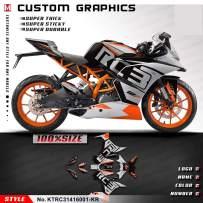 Kungfu Graphics Custom Decal Kit for 2014 2015 2016 RC 250 RC250/RC 390 RC390,Black, KTRC31416001-KR