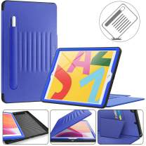 Timecity iPad 10.2 Case (iPad 7th Generation Case). Very Protective But Convenient Magnetic Stand + Smart Sleep/Wake + Elastic Pencil Pocket + Card Holder Cover for iPad 7th gen, Black/Navy Blue