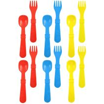 Re-Play Made in USA 12pk Toddler Feeding Utensils Spoon and Fork Set for Easy Baby, Toddler, Child Feeding - Red, Yellow, Sky Blue (Preschool) 6 Spoons/6 Forks