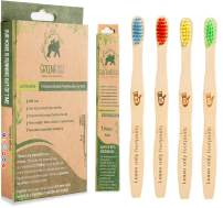 GreenBoss Kids Bamboo Toothbrush with Colorful Bristles (Medium-Soft) | Pack of 4 Eco-friendly, 100% Organic and Biodegradable Tooth Brush for Kids with Sensitive Gums