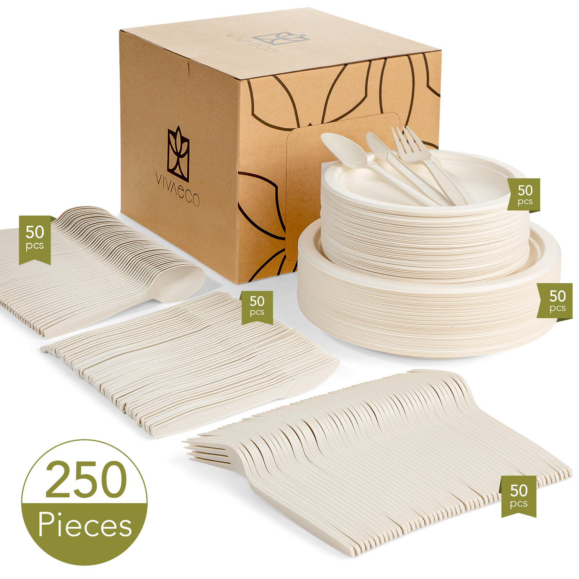 Biodegradable, Compostable Plates and Utensils, 250 Pieces, Service for 50 - Eco-Friendly, Disposable Plates for Parties, Microwave and Freezer Safe - Premium, Biodegradable Dinnerware Set (White)