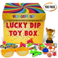 THE TWIDDLERS 100 Ultimate Lucky Dip Toys | Assortment Party Favor Toys | Birthday Party Favors | Treasure Chest Box | Price and Rewards | Indoor Fun Activity Hours Play Entertainment for Kids